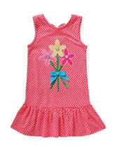 Youngland Floral Appliqué Ruffle Dress - Toddler & Girls 5-6x