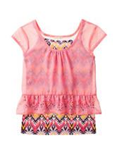 One Step Up Coral Layered-Look Laser Cut Ruffled Top – Girls 7-16