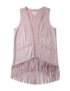 Jessica Simpson Apricot Faux Suede Fringed Vest – Girls 7-16