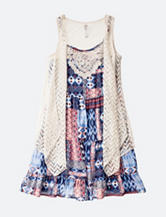 Beautees Americana Crochet Patchwork Dress with Vest – Girls 7-16