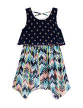 Pogo Club Multicolored Mixed Print Popover Dress – Girls 7-16