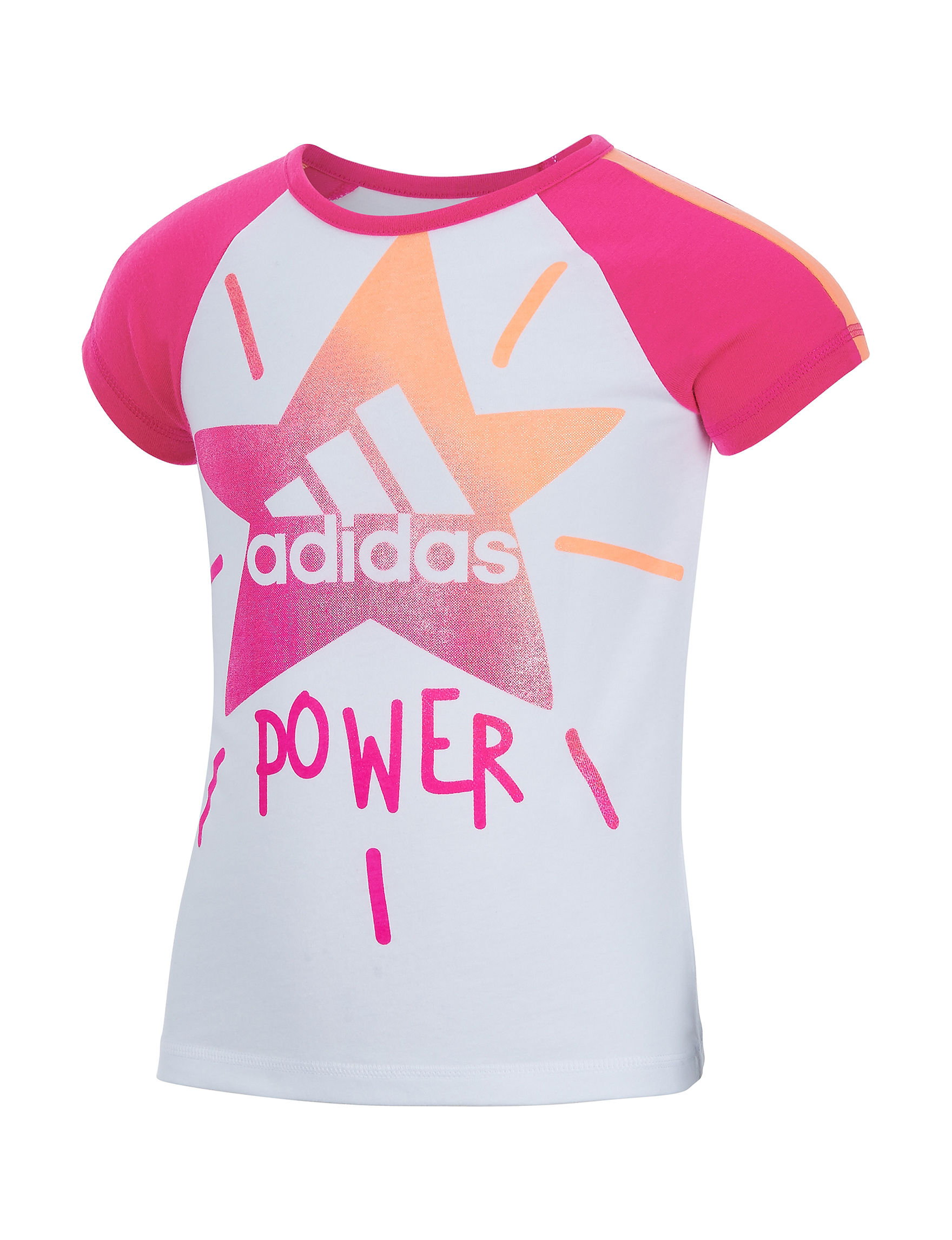 Adidas White / Pink Tees & Tanks