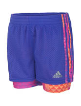 adidas® Purple Double Dutch Triaxial Shorts – Toddlers & Girls 4-6x