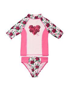 Betsey Johnson 2-pc. Rose Color Block Rashguard Swim Set – Toddler Girls