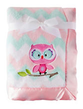 Baby Essentials Chevron Print Owl Plush Blanket