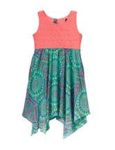 Pinky Printed Shark Bite Hem Dress - Girls 4-6x