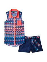 Pogo Club 2-pc. Woven Aztec Top & Shorts Set – Girls 7-16