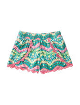 Derek Heart Multicolor Abstract Print Crochet Shorts – Girls 7-16