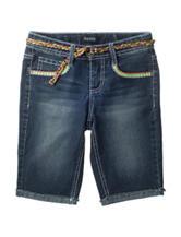 Squeeze Dark Wash Neon Embroidered Bermuda Shorts – Girls 7-16