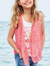 Self Esteem 2-pc. Follow Your Heart Crochet Vest Set – Girls 7-16
