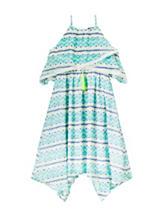 Girls Rule Turquoise & Navy Zigzag Print Ruffled Popover Dress – Girls 7-16