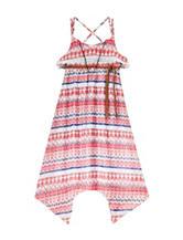 Girls Rule Coral & Navy Tribal Print Popover Dress – Girls 7-16
