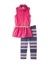 One Step Up 2-pc. Coral Belted Top & Leggings Set – Girls 7-12