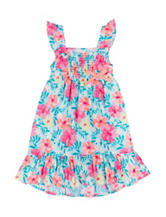 Little Lass Floral Print Smocked Dress - Toddler & Girls 5-6x