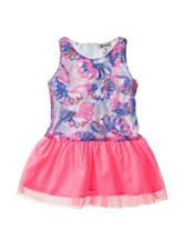 Kensie Pink & Blue Floral Tulle Knit Dress – Toddler Girls