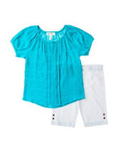 Jessica Simpson 2-pc. Blue  Crinkle Top & Leggings Set –Toddlers & Girls 4-6x