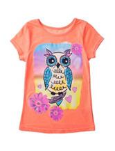 Twirl Neon Coral Owl Print Top – Girls 4-6x