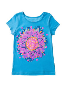 Twirl Tropical Turquoise Sunflower Print Top – Girls 4-6x