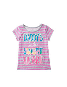 Twirl Pink & Gray Daddy's Sweetheart Striped Print Top – Girls 4-6x