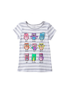 Twirl White & Gray Striped Owl Grid Print Top – Girls 4-6x