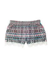 Vanilla Star Multicolor Totem Print Lace Hem Shorts – Girls 7-16