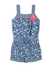 Youngland Floral Print Chambray Romper - Toddler & Girls 5-6x