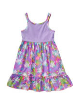 Youngland Tonal Purple Palm Tree Print Dress – Toddler & Girls 5-6x