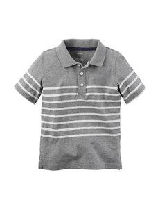 Carter's® Grey & White Striped Polo – Toddler Boys