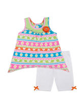 Little Lass 2-pc. Striped Top & Bike Shorts Set – Toddlers & Girls 5-6x