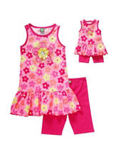 Dollie & Me 2-pc. Tonal Pink Floral Print Top & Shorts Set – Girls 4-14