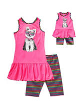 Dollie & Me 2-pc. Puppy Top & Striped Shorts Set – Girls 4-14