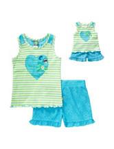 Dollie & Me 2-pc. Heart Striped Top & Crochet Shorts Set – Girls 4-14