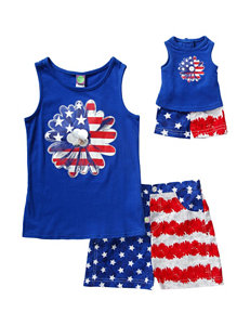 Dollie & Me 2-pc. Flag Flower Top & Shorts Set – Girls 4-14