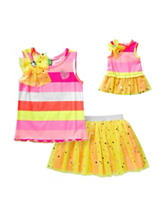 Dollie & Me 2-pc. Striped Top & Mesh Scooter Set – Girls 4-14