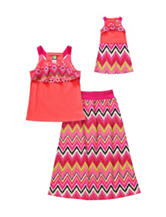 Dollie & Me 2-pc. Coral Flounce Top & Maxi Skirt Set – Girls 4-14