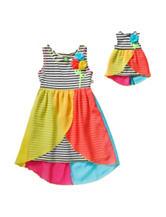 Dollie & Me Striped Chiffon Overlay Dress – Girls 4-14
