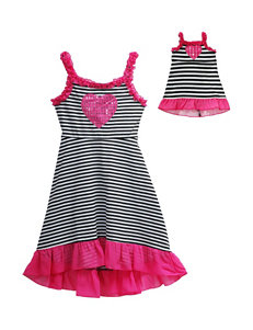 Dollie & Me Heart Accent Striped Knit Dress – Girls 4-14