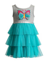 Youngland Gray & Turquoise Knit Tulle Dress – Girls 2-6x