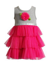 Youngland Gray & Pink Knit Tulle Dress - Girls 2-6x