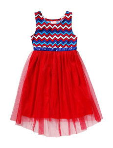 Youngland Chevron Knit Hi-Lo Dress – Red