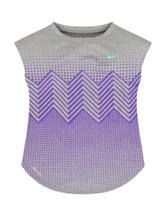 Nike® Gray & Purple Geometric Dri-FIT Top – Girls 4-6x