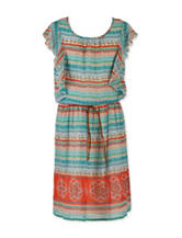 Speechless Jade Aztec Print Belted Dress - Girls 7-16