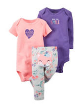 Carter's® 3-pc. Made You Smile Bodysuits & Leggings Set – Baby 0-9 Mos.