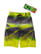 ZeroXposur Lime Abstract Swim Trunks with Goggles – Boys 8-20