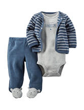 Carter's® 3-pc. Blue & Grey Handsome Footed Set – Baby 0-9 Mos.
