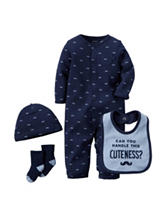 Carter's® 4-pc. Navy Mustache Print Convertible Gown Set – Baby 0-3 Mos.