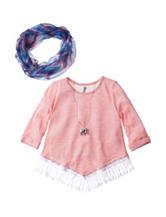 Beautees Solid Color Coral Fringe Hem Top - Girls 7-16
