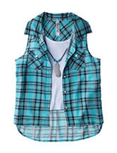 Beautees 2-pc. Plaid Print Top Set - Girls 7-16