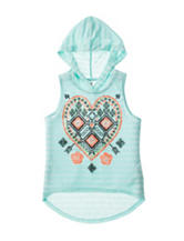 Beautees Multicolor Aztec Heart Hoodie Tank Top – Girls 7-16