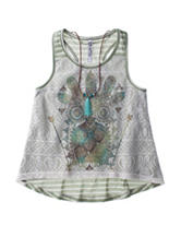 Beautees Multicolor Striped Owl Print Top – Girls 7-16